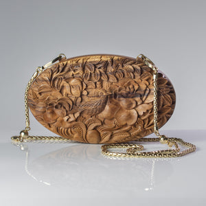 Roses and Nightingale Oval Clutch - Blumera