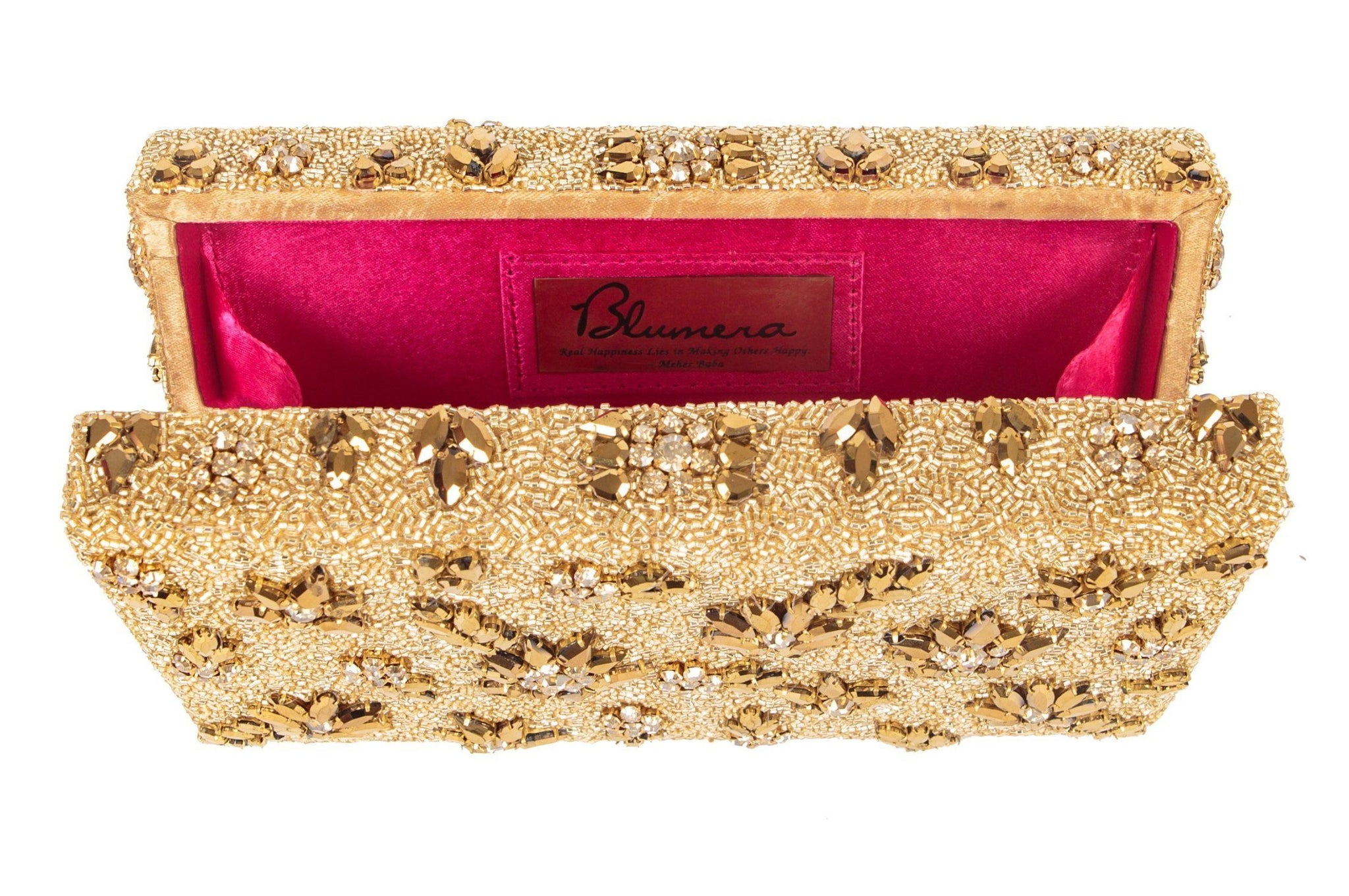 Shooting Star Crystal Encrusted Clutch - Matte Gold - Blumera