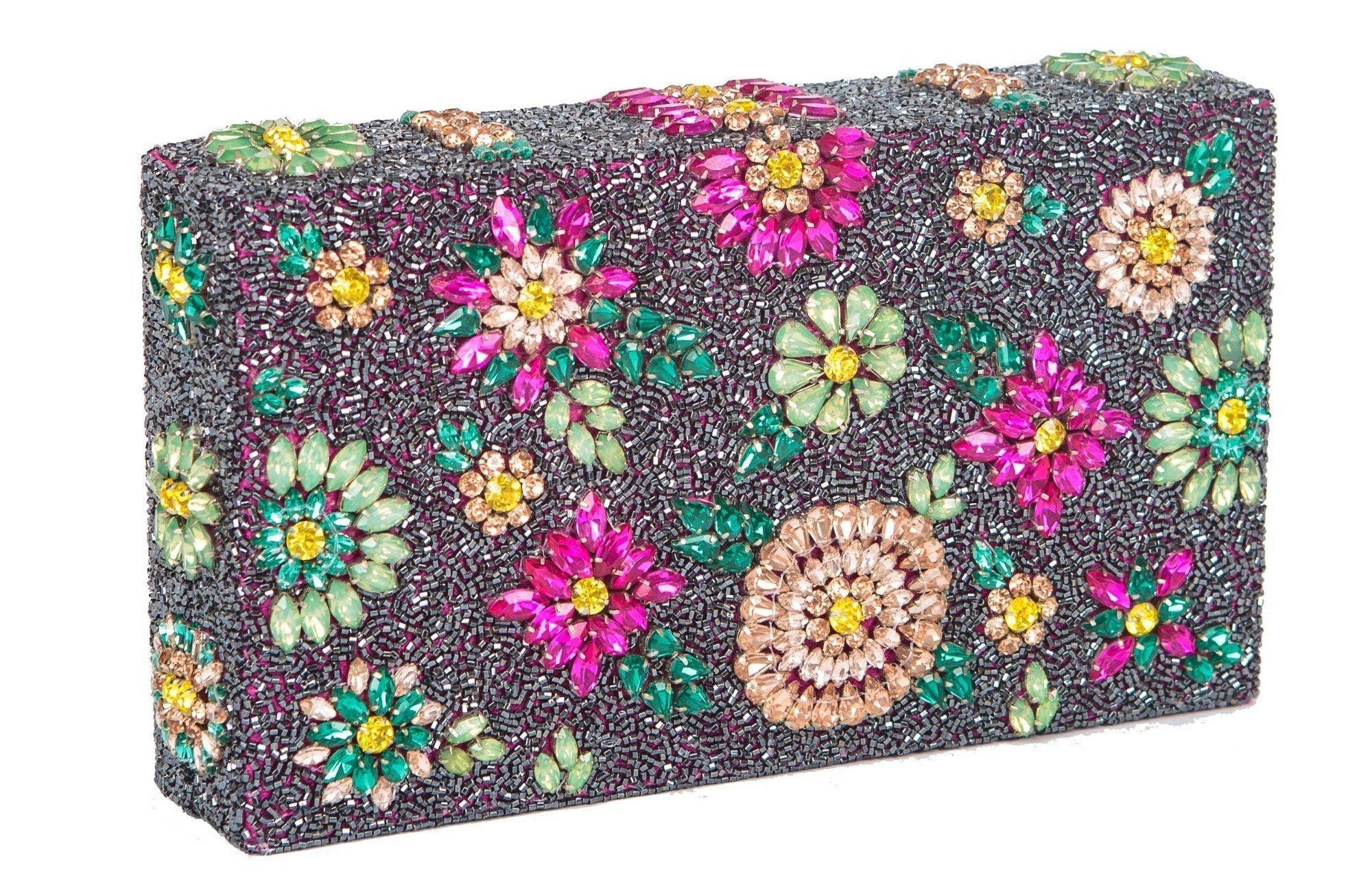 Shooting Star Crystal Encrusted Clutch - Multi Color - Blumera