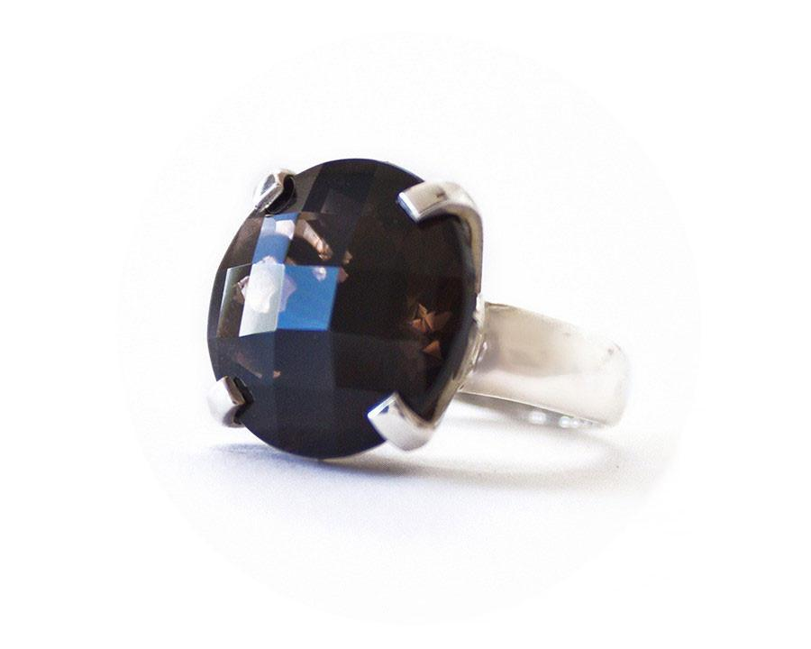 Smoky Quartz Flower Petal Ring - Blumera