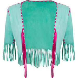 Suede Jacket with Fringe - Blumera