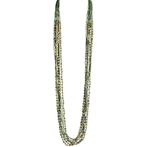 Unakite Stone and Olive Beaded Eight Strand Necklace - Blumera