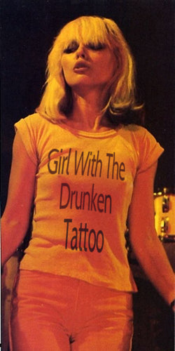 Girl With The Drunken Tattoo Rolled Sleeve T-Shirt 100% Organic Cotton