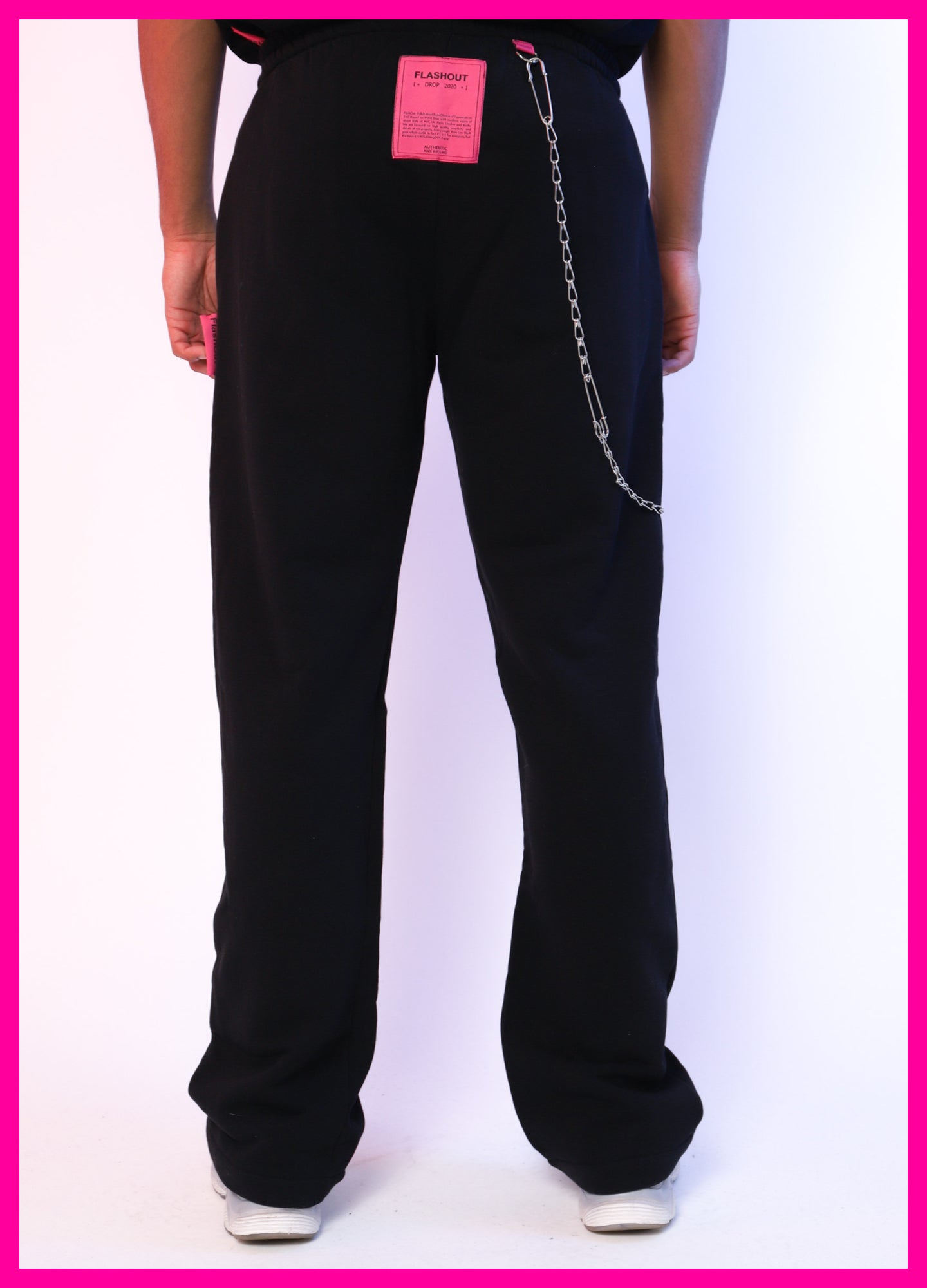 [ * UNISEX * ] WIDE BLACK PANTS FF LOGO - Flashout Store