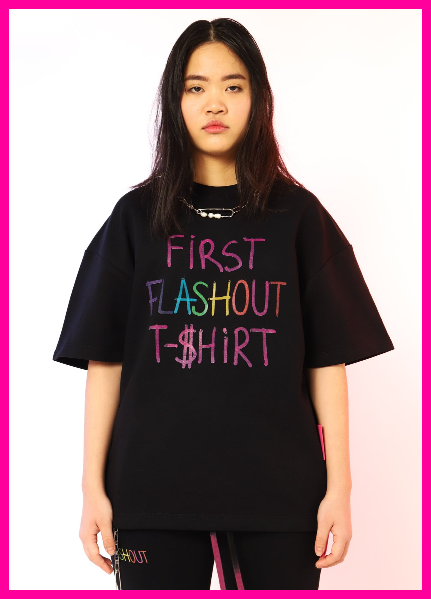 [ * UNISEX * ] BLACK T-SHIRT RAINBOW - Flashout Store