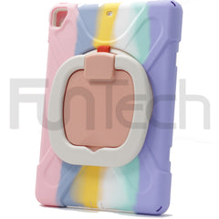 iPad 9.7 inch 2018/2017/ Pro 9.7 inch/ Air 2/ Air, Hard Shockproof Case Color Rainbow Pink