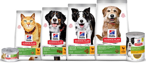 Hill's Science Plan Senior Vitality is available for mini, medium, and large breed dogs and in delicious stews that cats and dogs love!