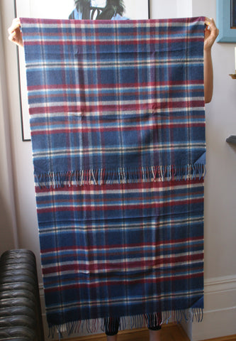 Woven Cashmere Stole - Tartan Blues & Red