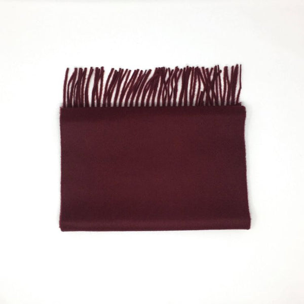 Classic Cashmere Woven Scarf - Claret - Now Only £35