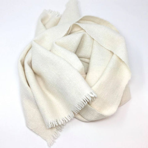 Handwoven Cream Scarf with Small Tassels