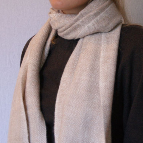 Handwoven and Handspun Scarf - Oatmeal and White