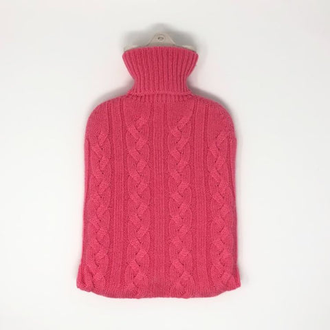Cashmere Cable Hot Water Bottle Cover - Soft Peach