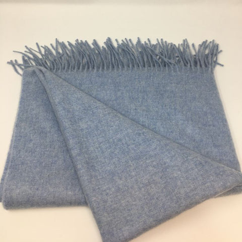 Woven Light Heathery Blue Scarf with Tassels