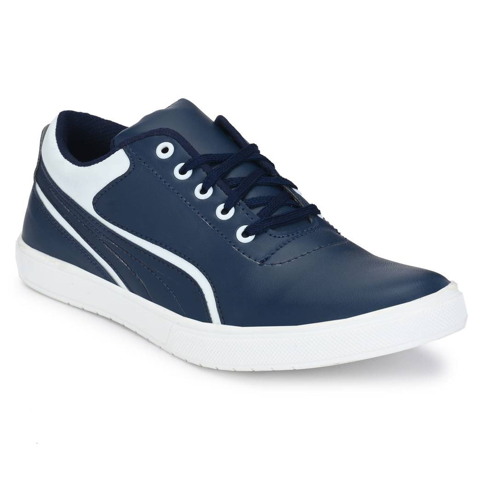 Blue & White Lace-Up Self Design Casual Shoes For Men's