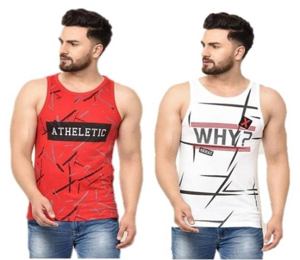Stylish Cotton Round Neck Sleeveless Printed Vest For Men ( Pack Of 2 )