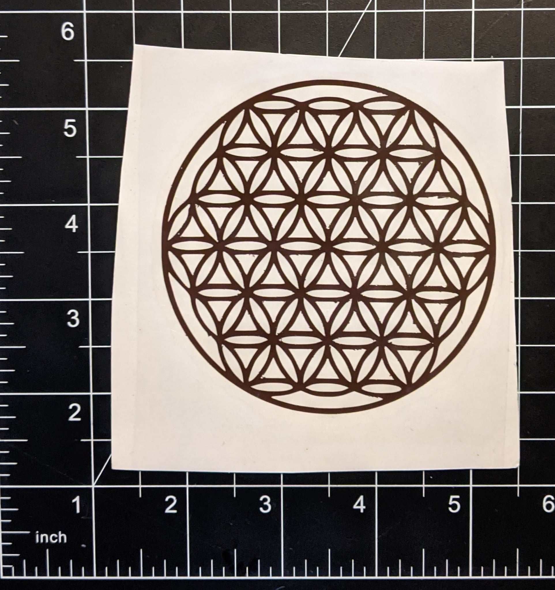 "4""x4"" Brown Flower of Life 