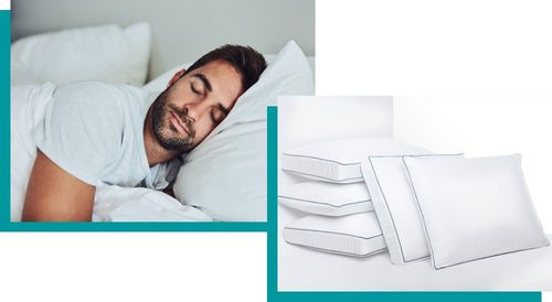 Top-left: Man relaxing with Agility pillows. Lower-right: Agility traditional and side-sleeper pillows stacked