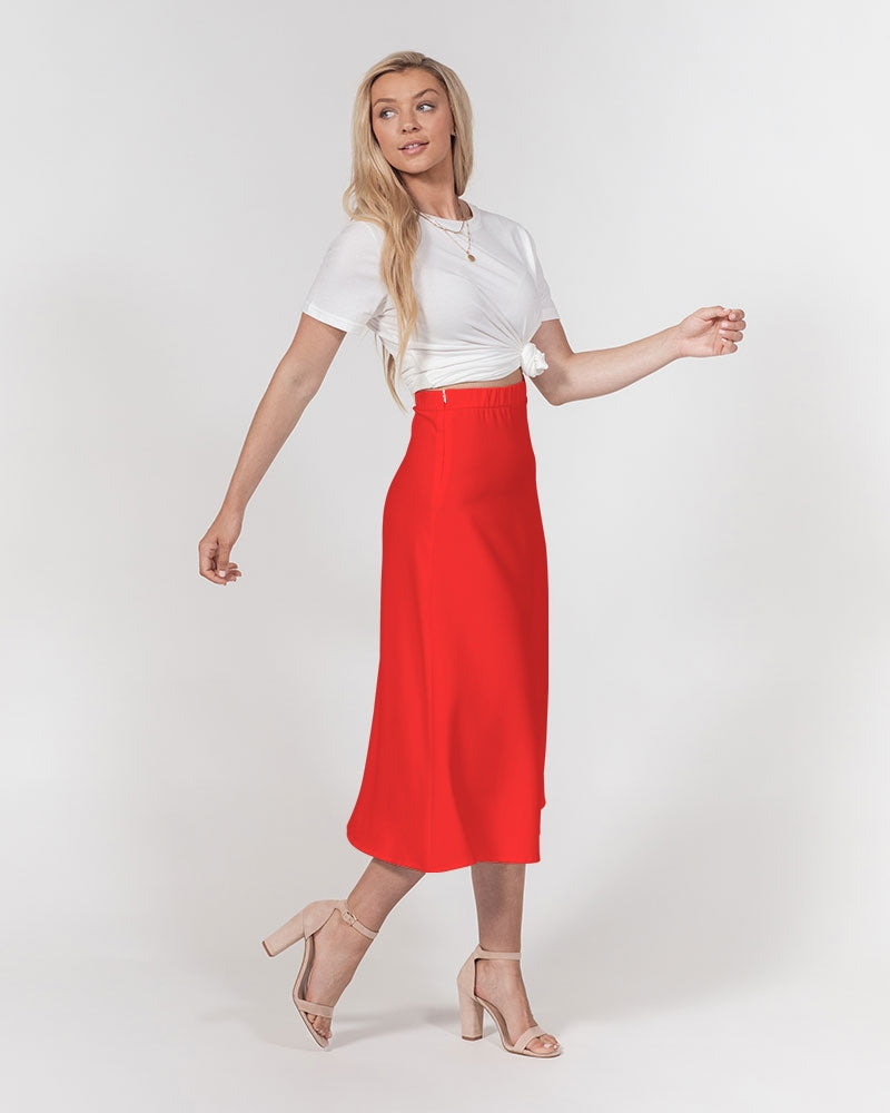 JF Women's A-Line Midi Skirt (Red)