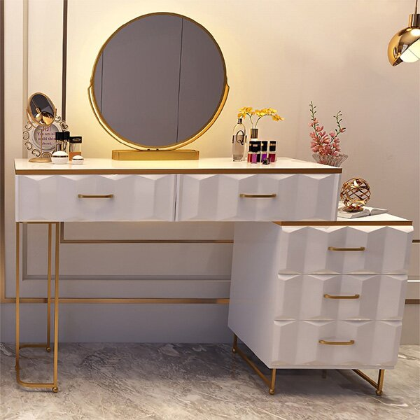 Hot Sale - Modern White Makeup Vanity Expandable Dressing Table with Cabinet Mirror Included