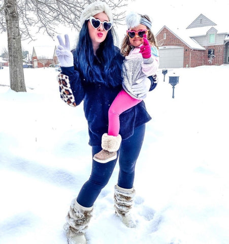 Mommy and me Sherpas. KJ Sepo and daughter wearing our Droppin' Hints Pullover Sherpas.