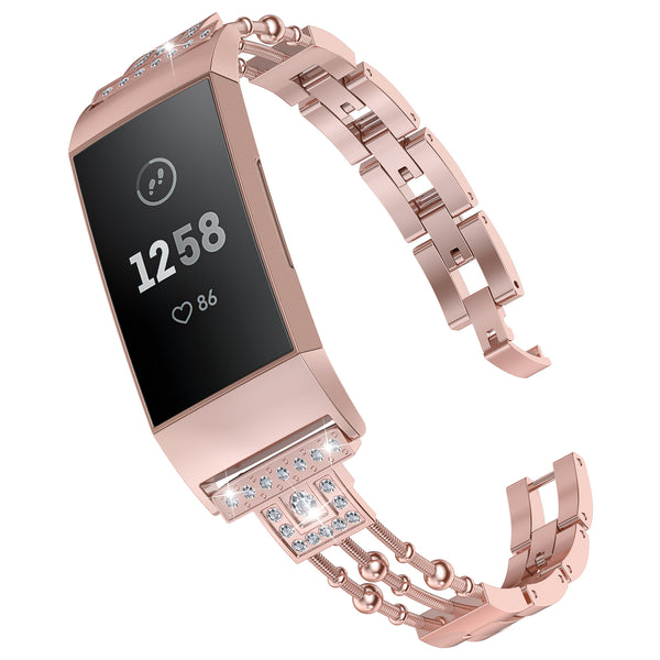 Wearlizer Fitbit Charge 4 Charge 3 Charge 3 SE Bands for Women Slim Metal Dressy Bling Rhinestone