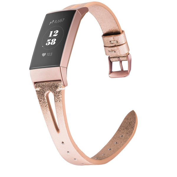 Wearlizer X Type Fitbit Charge 3 / Fitbit Charge 4 Bands for Women Men, Genuine Leather