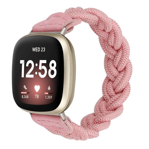 Wearlizer Elastic Band Fitbit Versa 3 / Sense Bands for Women Slim Solo Loop Braided Strap Wristband Stretchy Woven