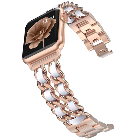 Wearlizer Chain Apple Watch Band Dressy Fancy Stainless Steel Leather Loop