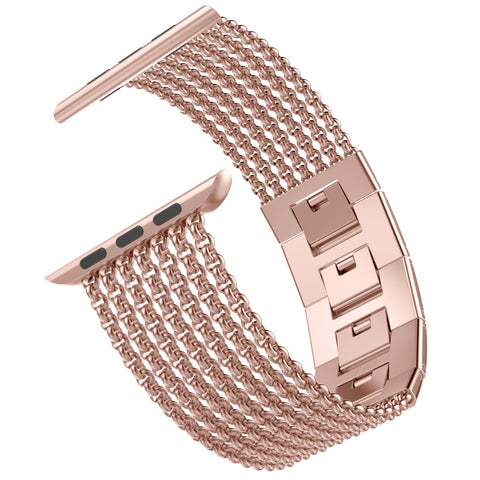 Wearlizer Apple Watch Band Mesh Loop Stainless Steel Replacement Dress Chain Metal