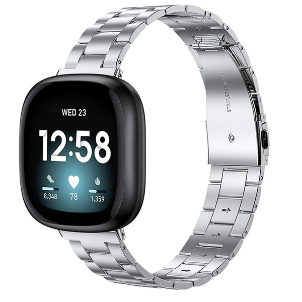 Wearlizer Fitbit Versa 3 Bands/Fitbit Sense Bands for Women Men,Stainless Steel Ultra-Thin Lightweight