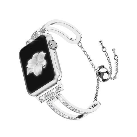 Wearlizer Apple Watch Band Bling Jewelry U-Type Wristband Steel with Rhinestone Bangle