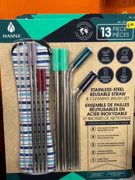 Manna 13 piece Stainless Steel Reuseable Straw and Brush set