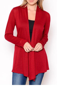 Sweater Open Cardigan Red