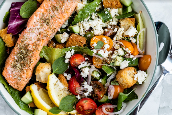 Luscious Greek Salad with Salmon