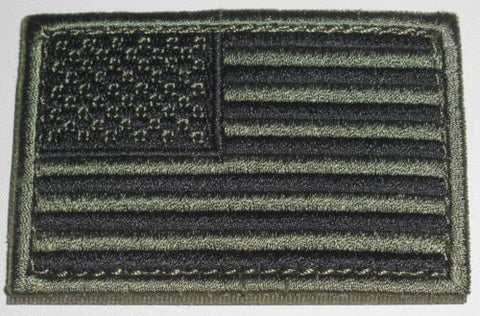 "Condor - American Flag Patch - 2"" x 3""inch OD & Black with Velcro Back"