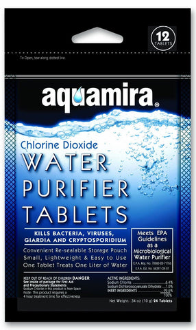 Aquamira 12 Pack Water Treatment Purification Tablets