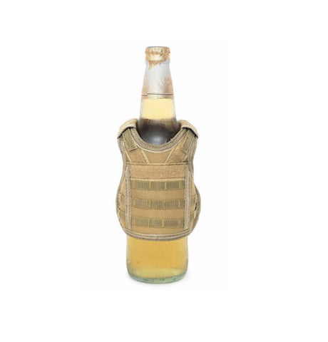 Tactical Beer Molle Vest Beverage Koozie Tan