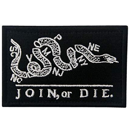 "Join or Die Patch 2x3"" Black"
