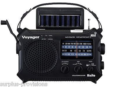 Kaito Voyager Emergency Radio KA500 BLK - Solar & Crank Charge - NOAA Shortwave