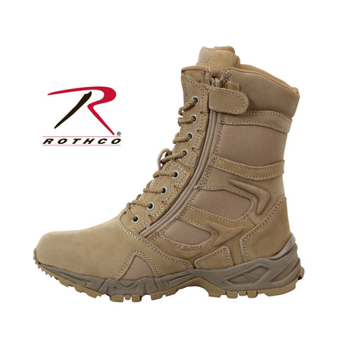 Rothco Forced Entry Desert Tan Deployment Boot With Side Zipper
