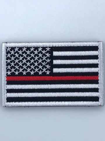 "American Flag Patch - 2"" x 3""inch Thin Red Line with Hook & Loop Back"