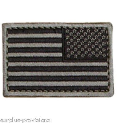 "Condor - Reverese American Flag Patch - 2"" x 3""inch Black & Gray  - Velcro Back"