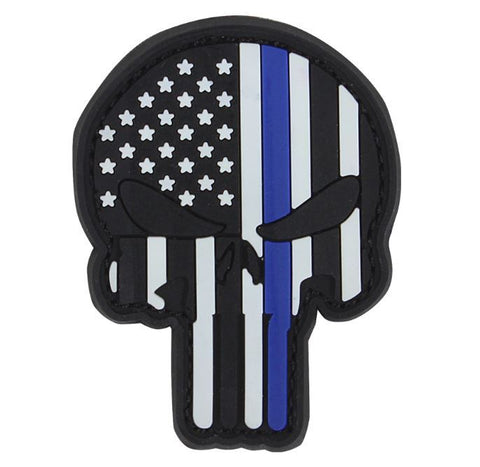 Condor Punisher Thin Blue Line PVC Patch Hook & Loop Back