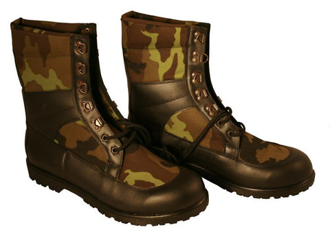 New Czech Army Woodland and Black Leather Boots