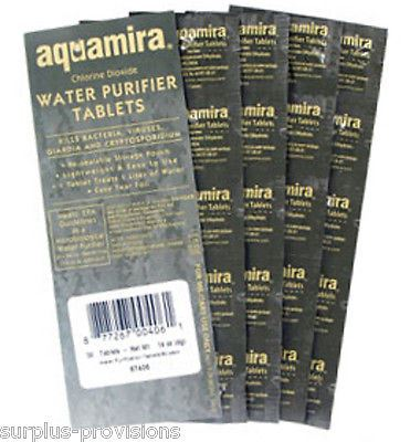 50 Pack - Aquamira Water Purification Tablets - Kills Bacteria & Improves Taste!