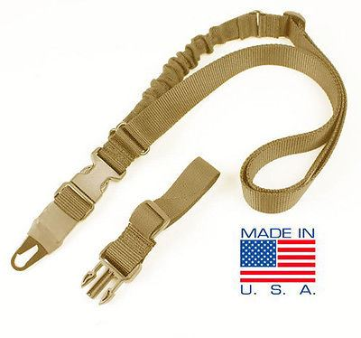 Condor Viper Tactical Single Point Bungee Rifle Sling + 2 Adaptors - TAN #US1021