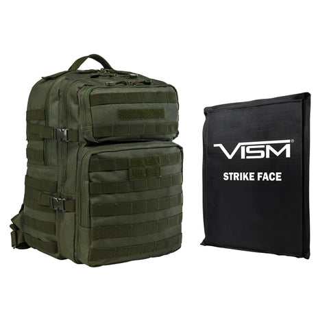 "VISM® by NcSTAR® ASSAULT BACKPACK WITH 11""x14"" LEVEL IIIA SOFT BALLISTIC PANEL/ GREEN"