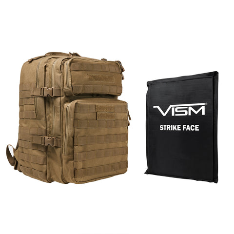 "VISM® by NcSTAR® ASSAULT BACKPACK WITH 11""x14"" LEVEL IIIA SOFT BALLISTIC PANEL/ TAN"