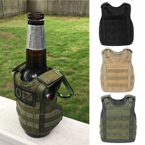 Tactical Beer Plate Carrier Koozie Molle Mini Vest with Patch Panel ( Choice of Colors )