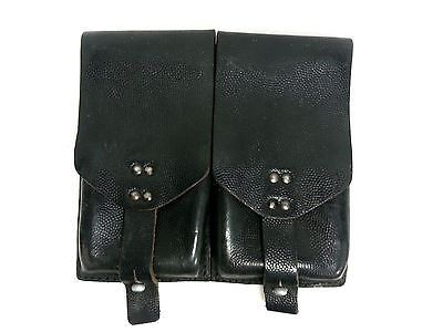 Austrian Army Leather 5.56/.233 Mag Pouch Holds Two 20 Rnd Mags #SL2038